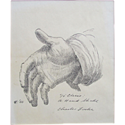 "Charles Wheeler Locke (American, 1899-1983) Original drawing.  Sketch of a Hand. Titled ""A Handshake"","