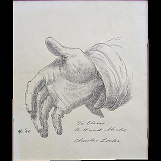 "Charles Wheeler Locke (American, 1899-1983) Original drawing.  Sketch of a Hand. Titled ""A Handshake"","