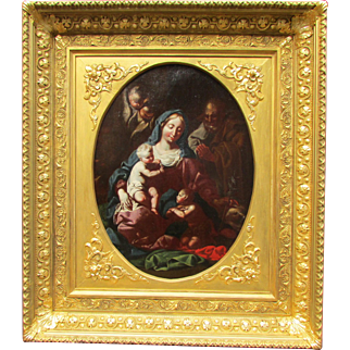 Old Master Painting 17th c. The Holy Family with Saint John the Baptist