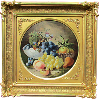 Dutch Old Master Style 19th c. Painting Floral Still Life with Fruits