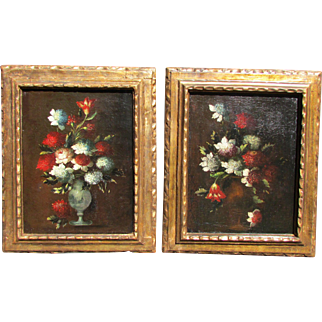 Pair of Dutch Old Master 18th c. Painting Floral Still Life