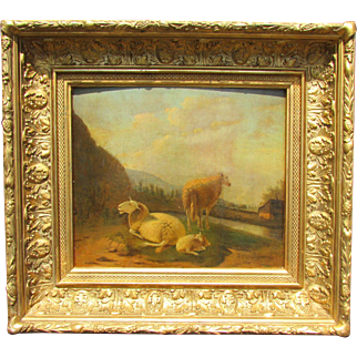 Ewes and Lamb by a Pool Painting by Flemish Artist Balthazar Paul Ommeganck
