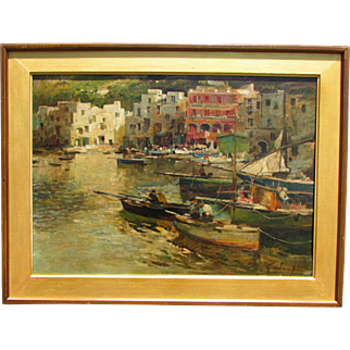 Felice Giordano (Italian, 1880-1964)  A harbor town Porticciolo Painting