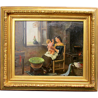 Italian Painting Mother with Child