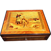 Antique English Inlaid Marquetry Wooden Box Girl Shepherdess with Sheep