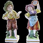 A Pair of Antique Porcelain Figurines by Rudolstadt Ernst Bohne Sohne of Germany