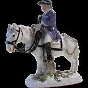 Meissen Porcelain Figure of Man on Horseback 19th C Marked Blue Crossed Swords