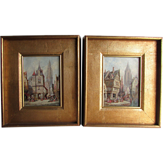 A Pair of city view paintings by Henry Thomas Schaefer (British, 1854-1915 )