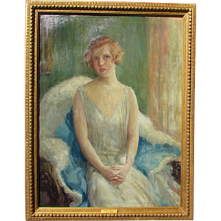 Girl Portrait Painting by American Artist Arthur William Woelfle