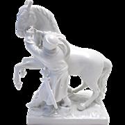 Rare 18th C. KPM Royal Berlin Porcelain Figurine of Man with Horse