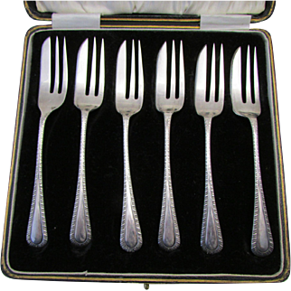 A.J. Bailey English Sterling Silver Pastry Forks Set 6pc In Original Fitted Box