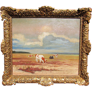Antique Impressionist Cow Cattle Landscape Oil Painting