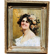 Portrait of a Young Lady with Roses in Hair by Listed Italian/American Artist John Edmund Califano.