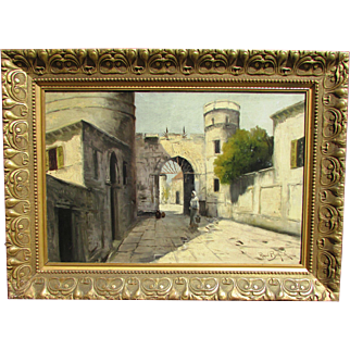 An Old City Street View with Figure Painting.