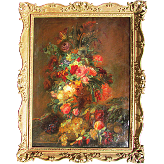 19c. Antique Floral Still Life Painting. Oil on canvas.