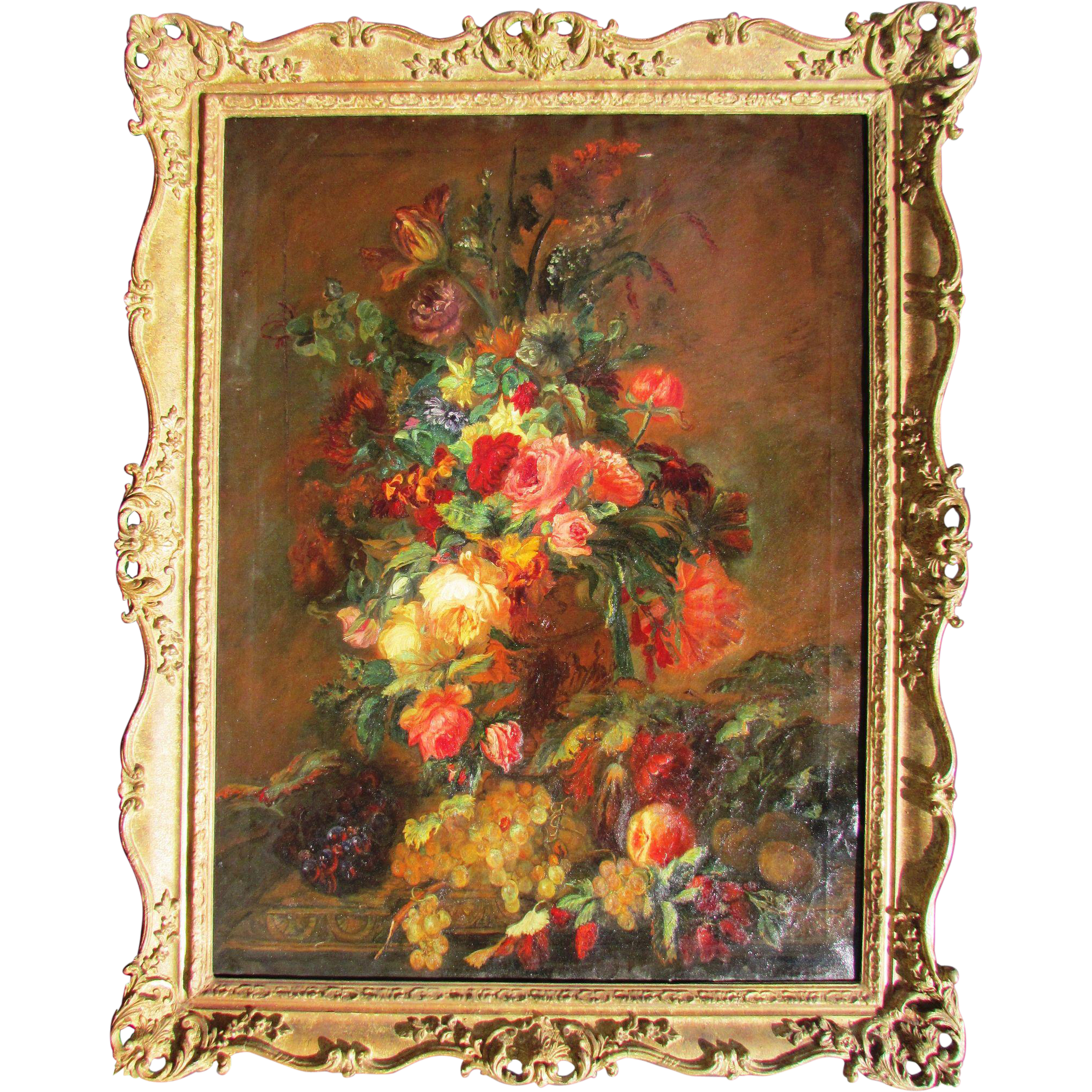 Antique Floral: 19c. Antique Floral Still Life Painting. Oil On Canvas