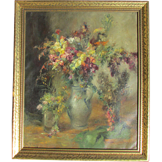 Floral Still Life impressionist Style Painting. Oil on canvas. 1934.