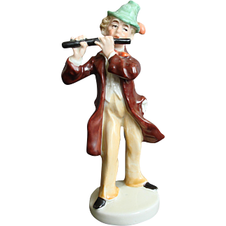 German Porcelain Musical Figurine Man Playing Flute.