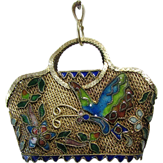 Vintage Chinese Export Gold Gild Silver Filigree Enameled Basket/ Purse Pendant with Butterfly