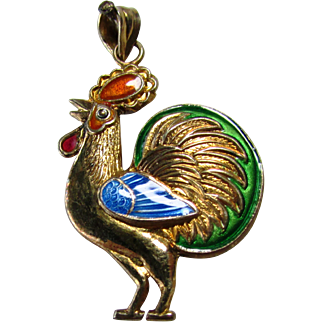 Chinese Export Gold Gild Silver and Enamel Rooster Pendant