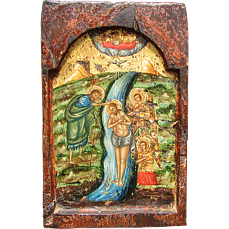 Antique C.18th century, Greek Orthodox icon, Post-Byzantine. Baptism of Jesus.