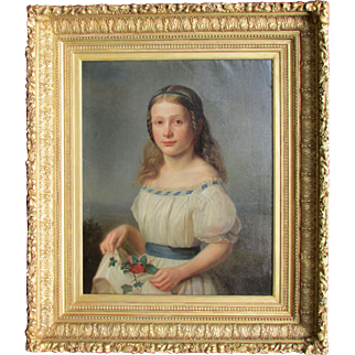 Antique Painting A Girl Portrait by 19th c. German Artist Clara Oenicke