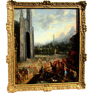Antique Old Master Painting 17th Century A View of Old City Market-place