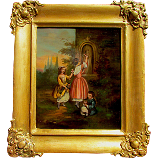 19th C.  European Small Genre Painting. Oil on copper. Depicting two girls and a boy in a garden placing flowers in a grotto in which stands a statue of a saint. Unsigned.  Size: 8 X 6.5 in., frame 11 X 9.5 in.