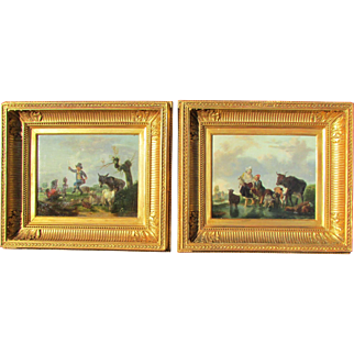 A Pair of Antique 19th c. Old Master School Paintings Genre Scenes. Oil on Wood Panel.