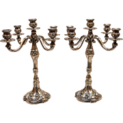 "Magnificent European Succession 800 Silver MASSIVE CANDELABRA PAIR 5-LIGHT, Ht. 12 1/2"" Dia. 10""  98oz"