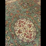 Semi-Antique Persian Kerman Rug Hand Woven Iran 1960's 8' x 11'4