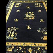 "Peking Rug Chinese Art Deco Tone on Tone Carpet Blue 9'x11'.6"" Circa 1910"