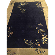 "Fine Chinese art deco Tone on Tone Carpet Blue 6'2""x8'9"" Circa 1930"