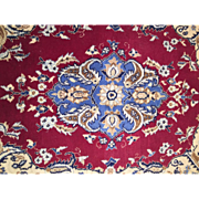 """Vintage Hand Made Nain 100% Wool Rug Medallion Beauty 3'3"""" x 2'4"""" Excellent Condition."""