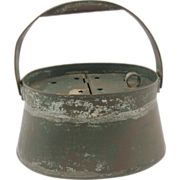 =SCARCE= Fishing minnow bait bucket, ca.1875, tin, green paint, oval