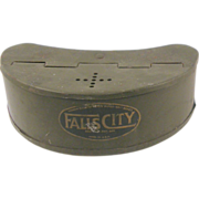 Fishing: Falls City Bait Box, ca.1950, olive drab paint, kidney-form