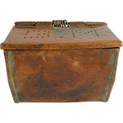 "=RARE= Copper belt-worn bait box ca.1850-1900, marked ""BM"""