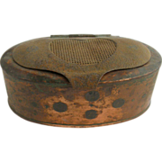 =RARE= Antique oval copper & tin fishing bait box ca.1850-1875
