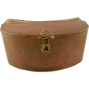 =RARE= Fishing, large belt-worn kidney shaped copper bait box ca.1850-1900