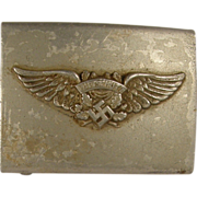 WWII German Luftschutz aluminum belt buckle
