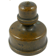 Bronze paperweight ca.1885, round with oak acorn finial handle