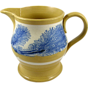 ca.1865-1875 Yellowware Blue Seaweed Pitcher