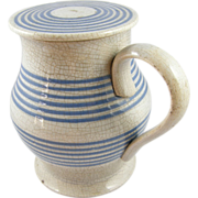 Covered Ale Pitcher ca.1900 blue stripes crazed