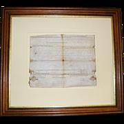 1785 Patrick Henry vellum document -Indian attack-