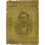 Richter's Taxidermy Museum antique broadside ca.1875 Michigan