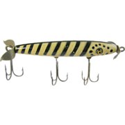Fishing lure, 1950 Master Dillinger 300 Series wood minnow, painted black & white stripes
