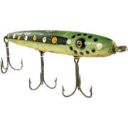 Fishing lure, early trout minnow, wood painted green with dots