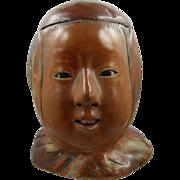 =RARE= Humidor ca.1900 paper mache figural head, Chinese coolie