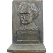 Mark Twain ca.1910 cast iron bookends (pair), library or office
