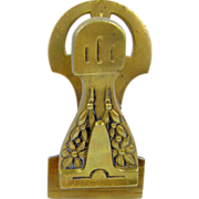 Paperholder paperclip, art nouveau brass flower, ca.1895, Victorian office library